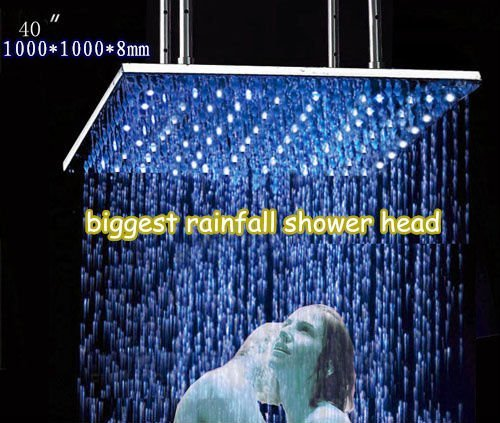Cascada 40 Inch Luxury Large Square LED Rain Bathroom Showerheads Brushed Stainless Steel