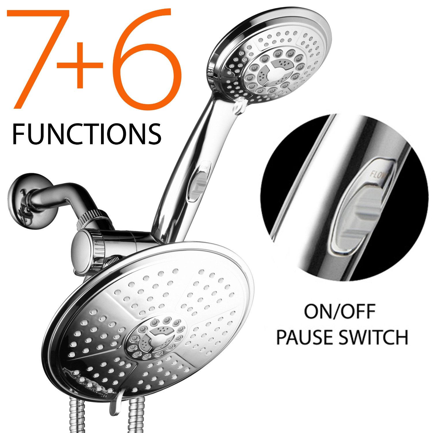 DreamSpa® Ultra Luxury 38 setting 3 Way Dual-Rainfall-Shower-Head-Combo