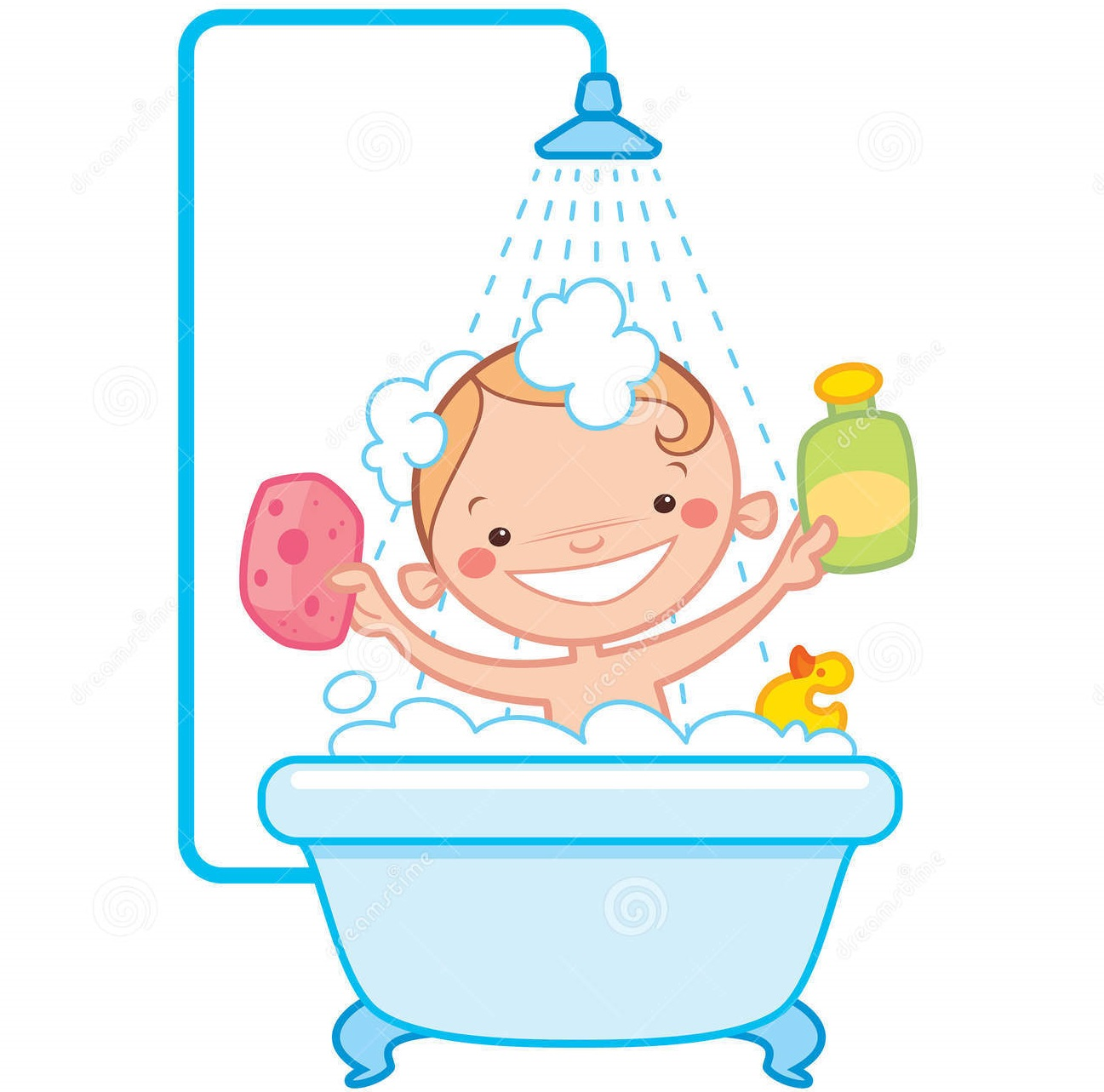 happy cartoon baby kid bath tub having bathtub - Cartoon Kids Pics