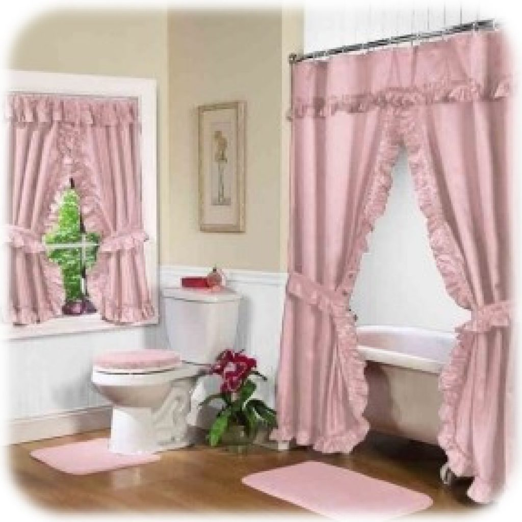Bathroom Pink Double Swag Shower Curtain With Valance
