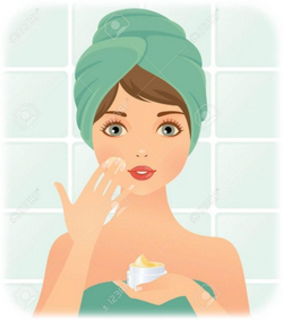 14238437-girl-takes-care-of-the-skin-Stock-Vector-cosmetics