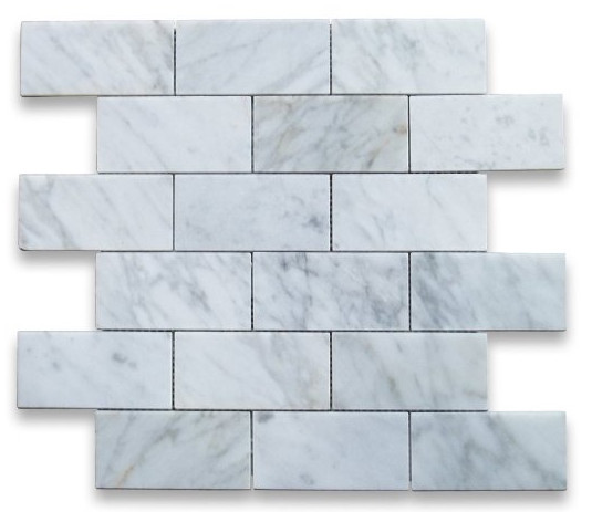 Carrara Marble Subway Brick Mosaic Tile from Stone Center Online