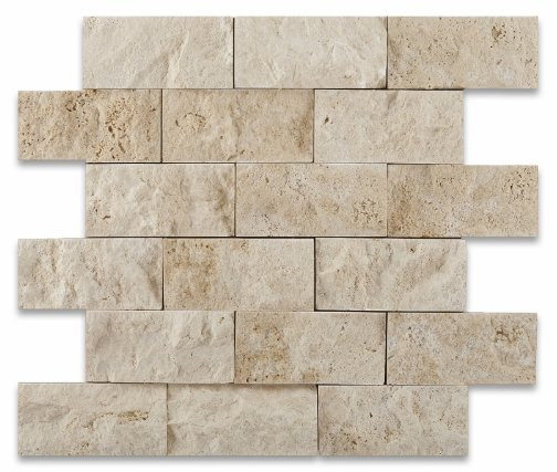 Ivory Travertine Brick Mosaic Tile from Oracle Moldings