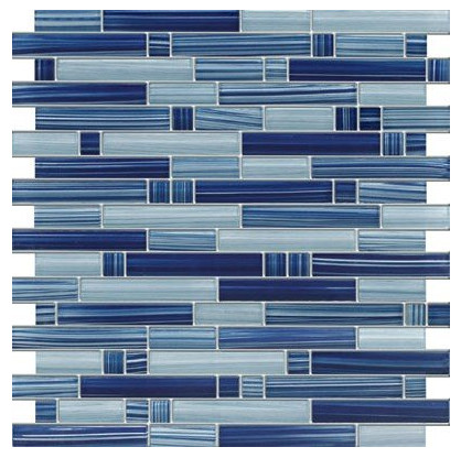 Blue Random Pattern Glass Tile from Marble 'N Things