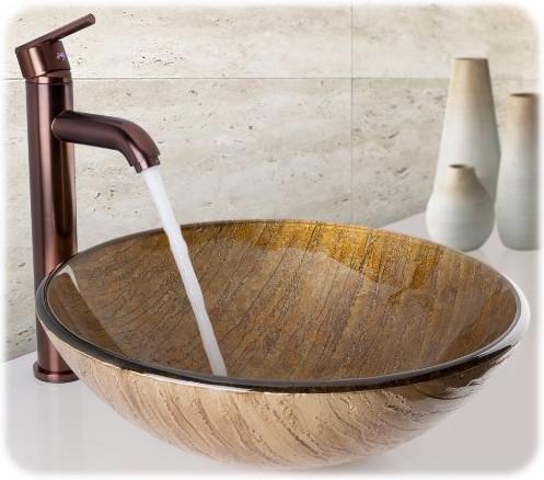 Amber Sunset Glass Vessel Bathroom Sink from Vigo