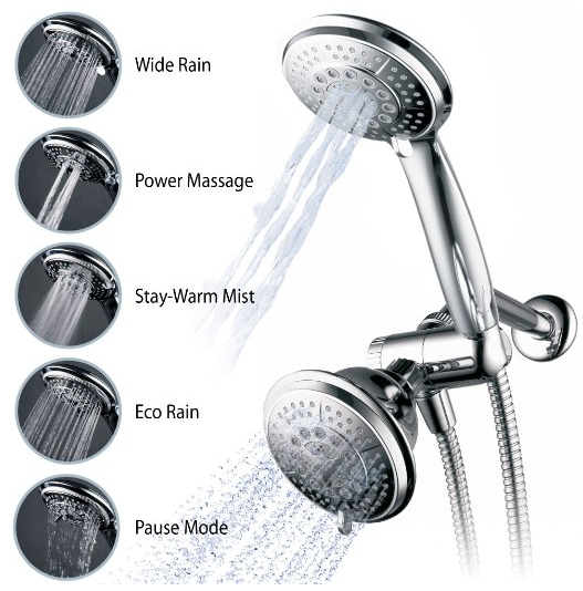 Full-Chrome 24 Function Ultra-Luxury 3-Waн 2 in 1 Shower-Head