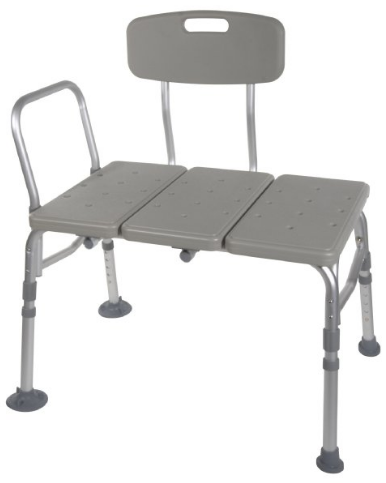 Plastic Transfer Bench with 3 Position Backrest from Drive Medical