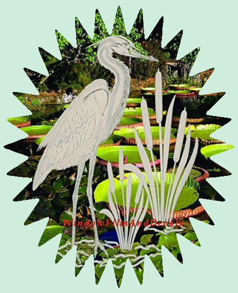 Egret & Cattails Decal from WindowFilmAndDecals